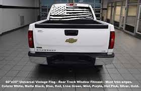 60 X20 Rear Window Usa Flag Truck Decal Graphics Choose Color 4x4 American Ebay