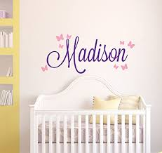Amazon Com Custom Butterflies Name Wall Decal Baby Girl Wall Decor Vinyl Nursery Wall Decals 42wx22h Baby