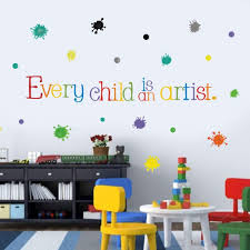 Amazon Com Every Child Is An Artist Wall Decal Watercolor Paint Splash With Dots Sticker For Classroom Decoration Colorful Sticker Home Wall Art Arts Crafts Sewing