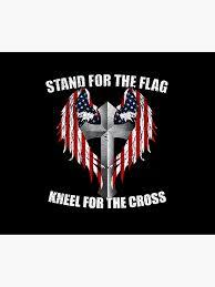 Stand For The Flag Kneel For The Cross Duvet Cover By Catcrewsdesign Redbubble