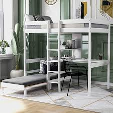 Amazon Com Loft Bed With Desk Bunk Bed With Desk And Shelves For Kids And Teens White L Shape Kitchen Dining