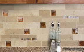 travertine brown glass tile backsplash