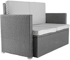 polyrattan lounge sofa 2 seater outdoor