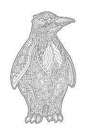 Mooie Zen Kunst Met Decoratieve Cartoon Pinguin Premium Vector