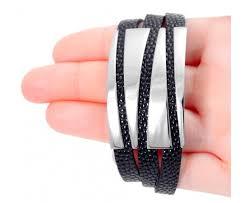 stainless steel leather wrap bracelet