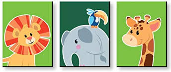 Amazon Com Big Dot Of Happiness Jungle Party Animals Safari Zoo Animal Nursery Wall Art And Kids Room Decorations Gift Ideas 7 5 X 10 Inches Set Of 3 Prints Toys Games