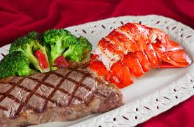 New York steak and lobster tail with ...