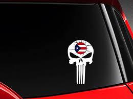Puerto Rico Punisher Skull Vinyl Car Decal Sticker Etsy