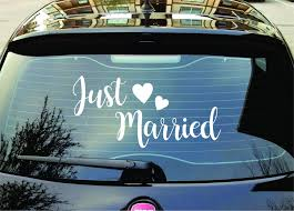 Just Married Car Decal Quote Sticker Wall Vinyl Art Decor Husband Wife Boop Decals