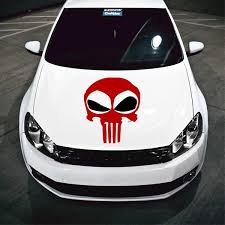 Large Size Deadpool Punisher Skull Inspired Vinyl Decal For Car Hoods Azvinylworks