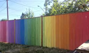Rainbow Ombre Fence Backyard Fence Decor Backyard Fences Fence Paint