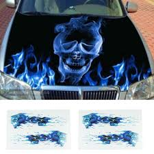 2018 Auto Car Styling Car Styling Automobile Motorcycle Necessary Cheap Diy Stickers Blue Flames Double Skull Image Car Stickers Car Stickers Automobiles Motorcycles Aliexpress