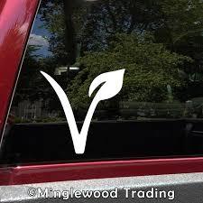V Vegan Leaf Vinyl Sticker Veganism Plant Based Healthy Die Cut Decal Minglewood Trading