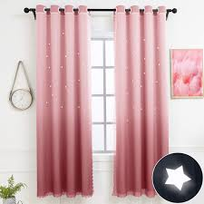 Amazon Com Hughapy Star Curtains Ombre Curtain For Kids Girls Bedroom Tulle Overlay Star Cut Out Curtains Mix And Match Curtains For Living Room Room Darkening Window Curtains 1 Panel 52w