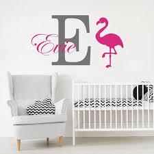 Custom Name Flamingo Animal Wall Sticker Children Room Nursery Personalized Name Flamingo Wall Decal Kids Room Vinyl Decor Wl96 Wall Stickers Aliexpress