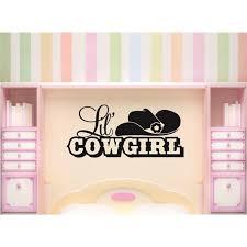 Custom Wall Decal Vinyl Sticker Western Lil Cowgirl Flower Cowboy Hat 20x40 Walmart Com Walmart Com