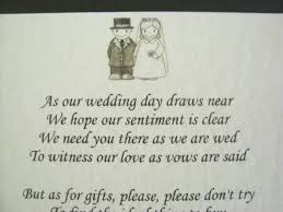 wedding invitation wording no gifts but