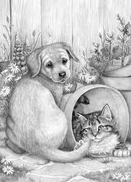 Puppy And Kitten Dieren Tekenen Katten Tekening