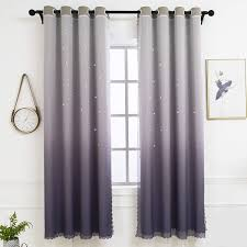 Amazon Com Hughapy Star Curtains Ombre Curtain For Kids Girls Bedroom Tulle Overlay Star Cut Out Curtains Mix And Match Curtains For Living Room Room Darkening Window Curtains 1 Panel 42w