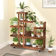 wooden flower rack plant stand multi
