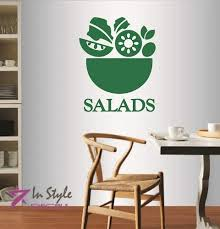 Amazon Com In Style Decals Wall Vinyl Decal Home Decor Art Sticker Salads Fruit Vegetable Healthy Vegetarian Food Salad Bar Cafe Restaurant Kitchen Room Removable Stylish Mural Unique Design 578 Home Kitchen