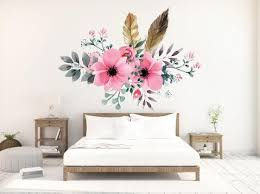 Boho Wall Decals Watercolor Pink Floral And Feathers Wall Decals B Walls2lifedecals