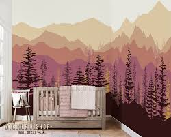 Instant Wallpaper Ombre Mountain Pine Tree Forest Scenery Wall Decal Sticker Mural For Bedroom Peel Stick In 2020 Ombre Mountains Tree Wallpaper Mountain Mural