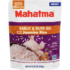 heat garlic olive oil jasmine rice