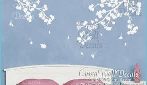 Flower Wall Decals Vinyl Floral Wall Sticker Branch Nursery Wall Decals Children 11parts Of Branch With White Cherry Blossom Z11 White Wall Sticker Neat