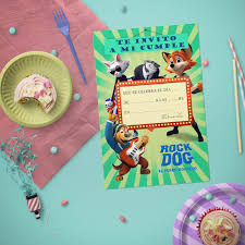 Rock Dog Tarjetas De Invitacion Celebrandofiestas Shop