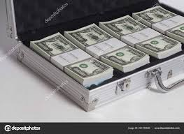 open suitcase with one million dollars