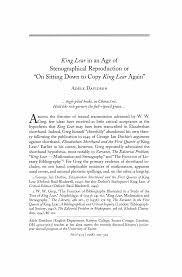 """King Lear"""" in an Age of Stenographical Reproduction or """"On Sitting Down to  Copy """"King Lear"""" Again"""""""
