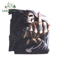 Earlfamily 13cm X 12 3cm Middle Finger Grim Reaper Skull Window Decal Sticker Suv 4x4 Skulls Vinyl 3d Car Sticker Waterproof Car Stickers Aliexpress