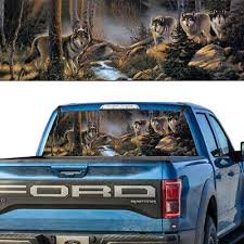 Rear Window Graphic Decal Perforated Wild Wolf Pack In The Forest Ebay