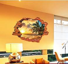 Bibitime Break Through Wall Decal Stickers Sea Sunset Glow Beach Coconut Tree Seaview Vinyl Wall Sticke Wall Stickers Room Sunset Wall Art Tropical Wall Decals