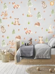 Fabric Nursery Decal Woodland Animal Decals Polka Dots Etsy