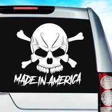 Made In America Skull Vinyl Car Truck Window Decal Sticker