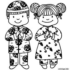 Coloriage Enfants Chinois dessin