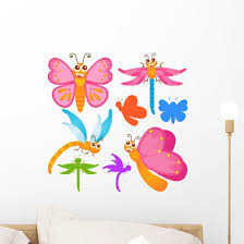 Colorful Butterfly Dragonfly Wall Stickers Wall Decal Wallmonkeys Com