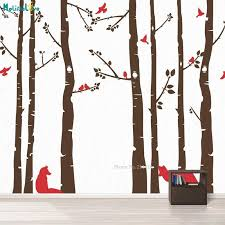 Fox And Birch Tree Wall Decal Wall Sticker For Children Birds Colorful Decals Self Adhesive Home Decor T200421 Designer Wall Stickers Digger Wall Stickers From Xue10 42 95 Dhgate Com