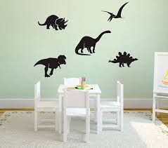 Amazon Com Yyart Dinosaur Wall Decals 5 Different Dinosaurs Decals Vinyl Wall Stickers For Baby Boys Room Nursery Decor Wall Art School Wall Decals A53 Black Home Kitchen