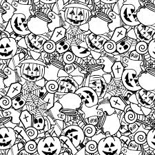 Doodle Halloween Seamless Pattern Coloring For Adults Stock