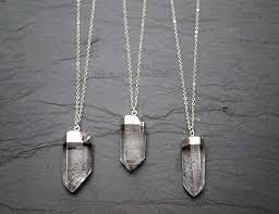 com raw quartz crystal necklace