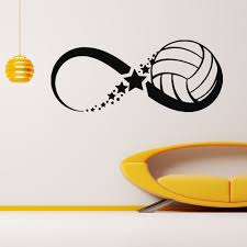 Volleyball Ball Infinity Sign Vinyl Wall Art Decal Sticker Decal Wall Art Vinyl Wall Art Decals Volleyball Designs