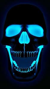 neon blue skull iphone 5 wallpaper
