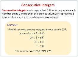 consecutive integer problems solutions