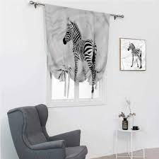 Amazon Com Tie Up Curtains For Windows Zebra Kids Blackout Curtains Wild Exotic Baby Creature 30 Wide By 64 Long Home Kitchen