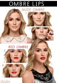 ombre lip makeup tutorial or red