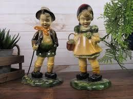 antique hand painted devon ware statues