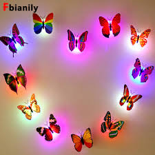 Mega Deal 37d701 Color Light Butterfly Wall Stickers Easy Installation Night Light Home Living Kid Room Fridage Bedroom Decor Cicig Co